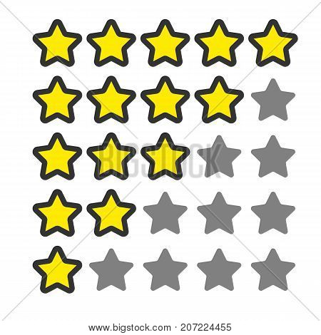 5 star rating. Vector icon for web and your other design. Cartoon style.