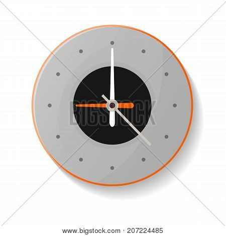 Round mechanical wall clock icon. Analog chronometer isolated vector illustration in flat style.