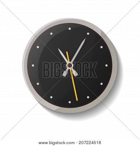 Classic round wall clock icon. Analog chronometer isolated vector illustration in flat style.