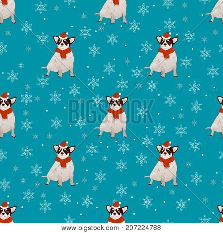 Pattern with a dog, New Year s talisman 2018 on the Eastern calendar. Blue background and falling snowflakes. Chihuahua. The dog is a comic figure, wearing a Santa Claus hat. With a red scarf on the neck Vector illustration