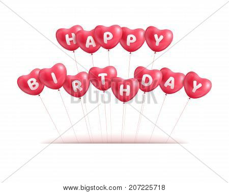 Congratulations happy birthday hearts balls. Congratulations on birthday in the form of hearts from balls for designers and illustrators. Felicitation in the form of a vector illustration
