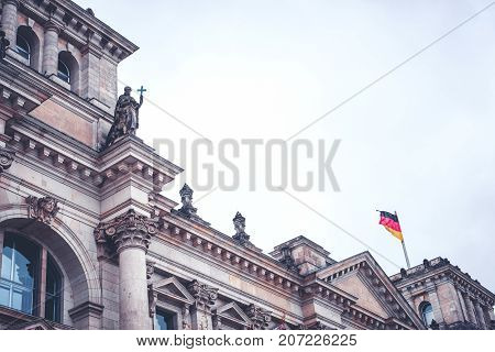 Reichstag Building Exterior - German Government Building Historic Facade Detail Of The  Reichstag ,