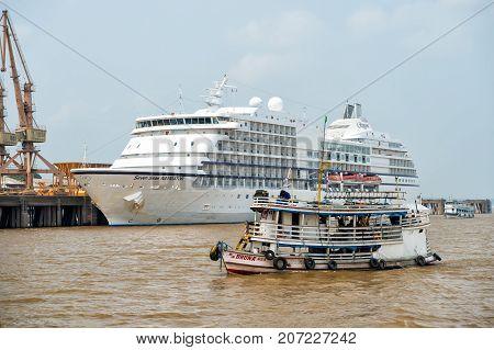 Ship Floating On Sea And Seven Seas Navigator Cruise Liner
