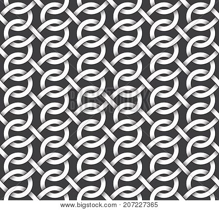 Abstract repeatable pattern background of white twisted bands with black strokes. Swatch of intertwined bands in infinity symbols form. Seamless pattern in vintage style.