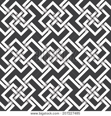 Abstract repeatable pattern background of white twisted bands with black strokes. Swatch of shapes plexus in polygons form. Seamless pattern in celtic style.