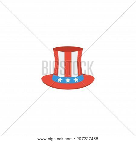 Flat Icon Uncle Sam Element. Vector Illustration Of Flat Icon Usa Hat Isolated On Clean Background poster