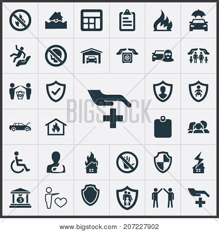 Elements Banking House, Questionaire, Heart And Other Synonyms Clipboard, Skull And Car.  Vector Illustration Set Of Simple Warrant Icons.