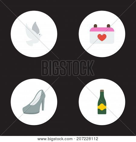 Set Of Marriage Flat Icons Symbols Also Includes Beverage, Marriage, Fizz Objects.  Flat Icons Calendar, Fizz, Sandal Vector Elements.
