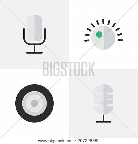 Elements Microphone, Loudspeaker, Record And Other Synonyms Loudspeakers, Record And Mic.  Vector Illustration Set Of Simple Music Icons.