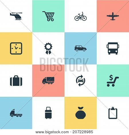 Elements Shipment Transport, Market Cart, Velocipede And Other Synonyms Shopping, Cart And Sack.  Vector Illustration Set Of Simple Surrender Icons.
