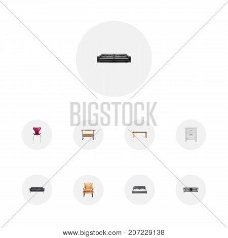 Realistic Furniture, Worktop, Divan And Other Vector Elements