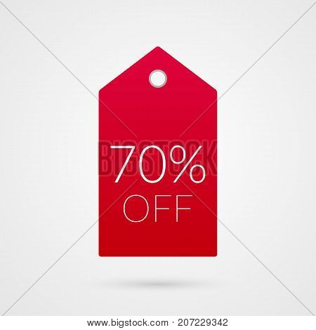 70 percent off shopping tag vector icon. Red and white isolated discount symbol. Illustration sign for sale advertisement marketing project business retail wholesale shop store finance