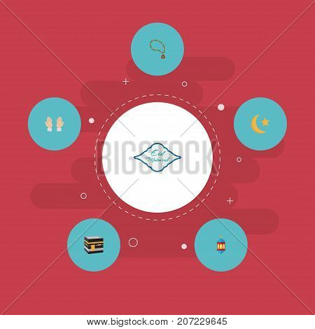 Flat Icons New Lunar, Bead, Mecca And Other Vector Elements