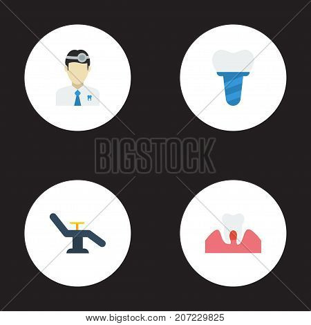 Flat Icons Furniture, Gingivitis, Orthodontist And Other Vector Elements