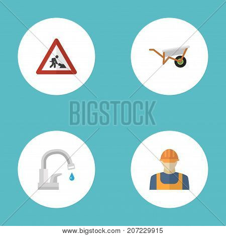 Set Of Industry Flat Icons Symbols Also Includes Tap, Water, Worker Objects.  Flat Icons Handcart, Worker, Faucet Vector Elements.