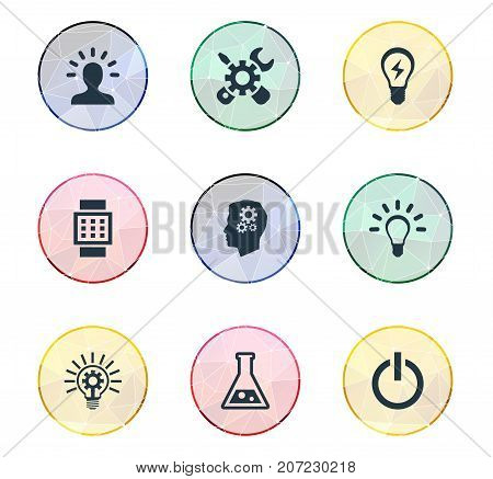 Elements Idea, Smart Watch, Bulb And Other Synonyms Button, Turn And Repair.  Vector Illustration Set Of Simple Solution Icons.