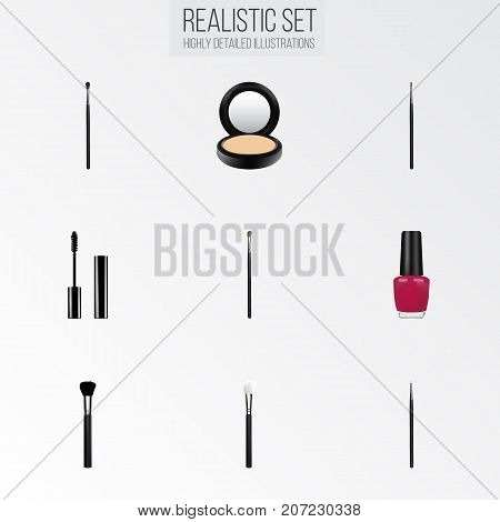 Realistic Fashion Equipment, Cosmetic Stick, Blusher And Other Vector Elements
