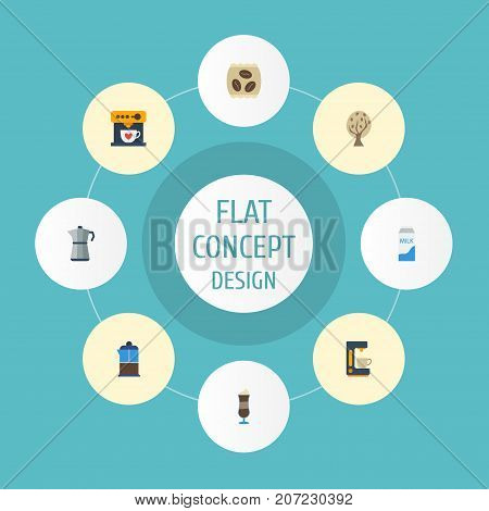 Flat Icons Package Latte, Mocha, French Press And Other Vector Elements