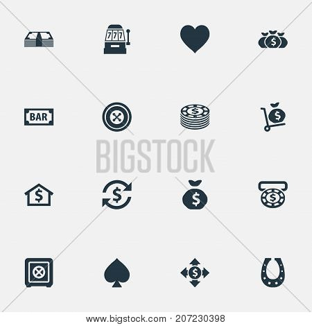 Elements Moneybag, Bank, Sign And Other Synonyms Sack, Shoe And House.  Vector Illustration Set Of Simple Gambling Icons.