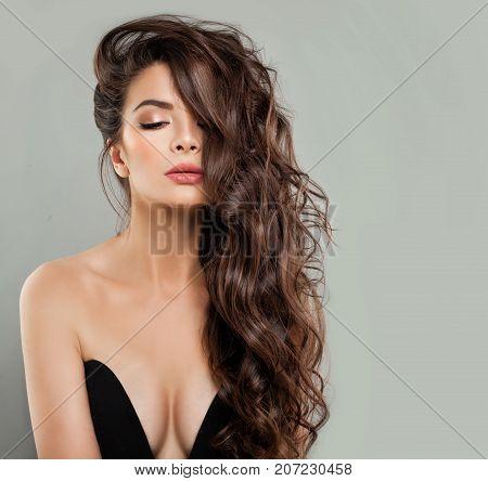 Alluring Woman Fashion Model in Black Bra on Banner Background