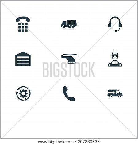 Elements Helicopter, Storage, Van And Other Synonyms Numbers, Period And Cogwheel.  Vector Illustration Set Of Simple Logistics Icons.