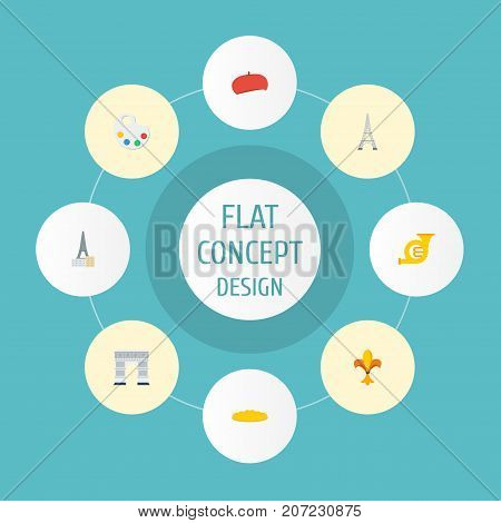Flat Icons Ornament, French, Tower And Other Vector Elements
