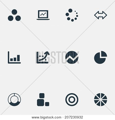 Elements Reverse Arrows, Pie Bar, Circle Diagram And Other Synonyms Figure, Graph And Dartboard.  Vector Illustration Set Of Simple Diagram Icons.