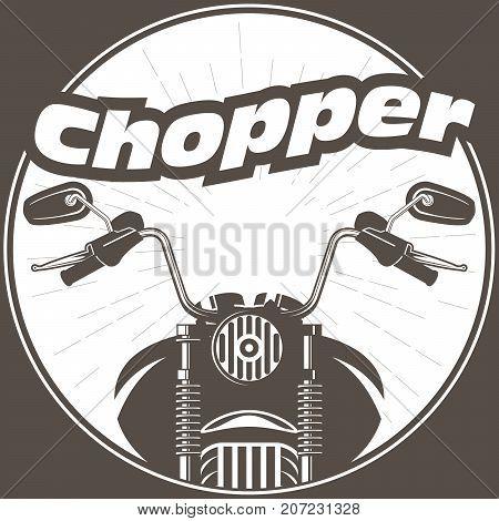 Chopper moto handlebar with rear-view mirrors - motorbike