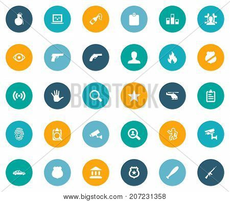 Elements Policeman Star, Automobile, Officer Badge And Other Synonyms Seek, Magnifier And Gun.  Vector Illustration Set Of Simple Crime Icons.