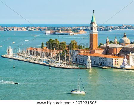 VENICE, ITALY - SEPTEMBER 4, 2013: Aerial view of Venetian lagoon and San Giorgio Maggiore Island. Venice, Italy