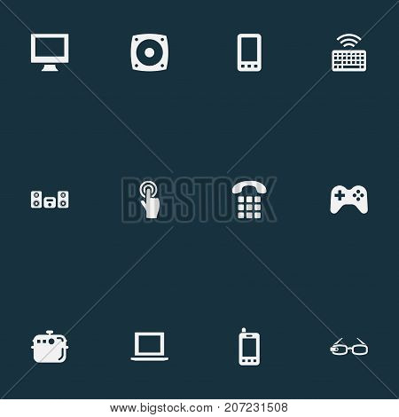 Elements Smartphone, Multimedia Center, Monitor And Other Synonyms Joystick, Controller And Device.  Vector Illustration Set Of Simple Smart Icons.