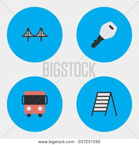 Elements Open, Stairs, Autobus And Other Synonyms Ladder, Key And Jumper.  Vector Illustration Set Of Simple Transportation Icons.