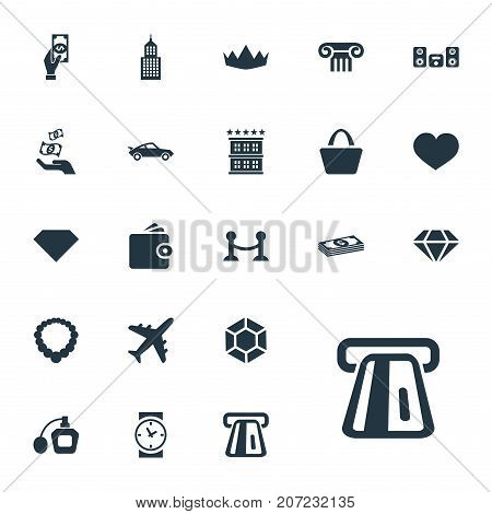 Elements Soul, Perfume, Loudspeaker And Other Synonyms Love, Pillar And Soul.  Vector Illustration Set Of Simple Money Icons.