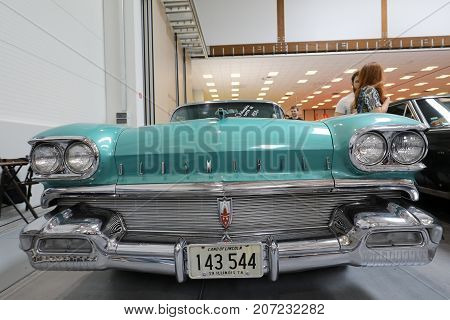 CRACOW POLAND - MAY 20 2017: Oldsmobile Super 88 displayed at MOTO SHOW in Cracow Poland. Exhibitors present most interesting aspects of the automotive industry