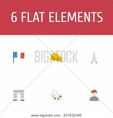Flat Icons Palette, Cheddar, Archway And Other Vector Elements