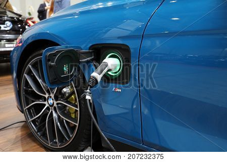 CRACOW POLAND - MAY 20 2017: Plug-in system of the BMW i8 electric automobile displayed at 3rd edition of MOTO SHOW in Krakow. Poland.Exhibitors present most interesting aspects of the automotive industry