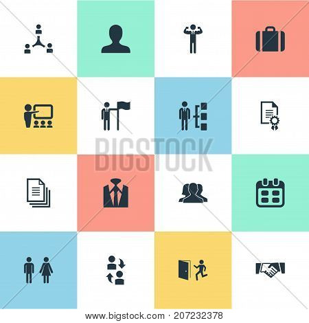 Elements Hierarchy, Award, Species And Other Synonyms Contact, Partnership And Manager.  Vector Illustration Set Of Simple Human Icons.