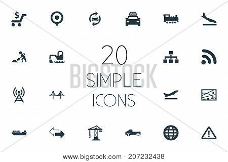 Elements Cargo Shipping, Construction Crane, Reverse Directions And Other Synonyms Reconstruction, Hoisting And Rail.  Vector Illustration Set Of Simple Infrastructure Icons.