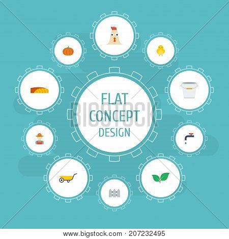 Set Of Agricultural Flat Icons Symbols Also Includes Irrigation, Gourd, Vegetable Objects.  Flat Icons Bucket, Faucet, Handcart Vector Elements.