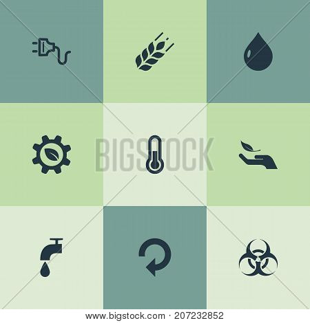 Elements Socket, Biology Peril, Biological Engineering And Other Synonyms Tap, Thermometer And Peril.  Vector Illustration Set Of Simple Green Icons.
