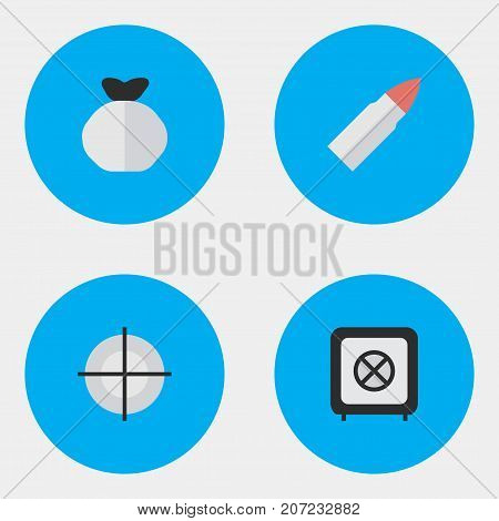 Elements Vault, Shot, Sniper And Other Synonyms Vault, Shot And Target.  Vector Illustration Set Of Simple Offense Icons.