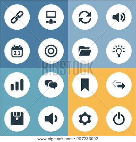 Elements Megaphone, Diskette, Server And Other Synonyms Cogwheel, Bar And Setting.  Vector Illustration Set Of Simple Practice Icons.