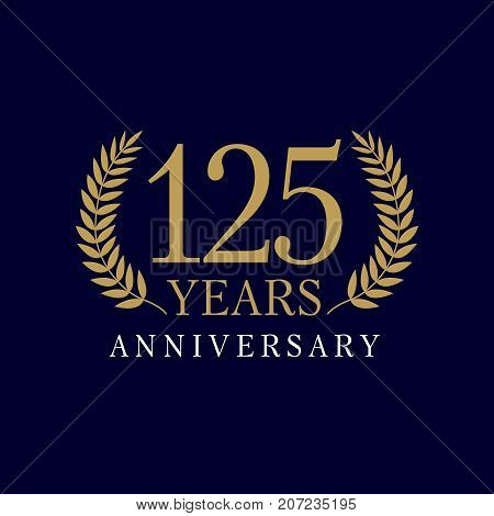 125 years anniversary royal logo. Template emblem 125th years old luxurious anniversary with a frame in the form of laurel branches and the number 125. Vector illustration