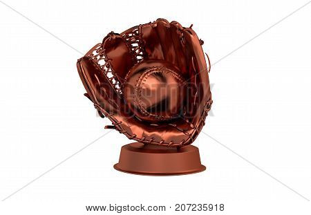 3D illustration of Baseball Bronze Trophy with a white background