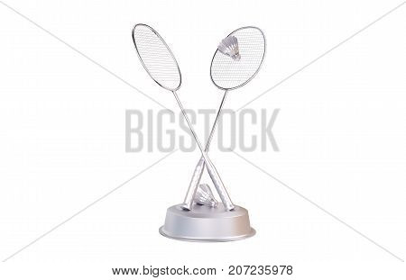3D illustration of Badminton Silver Trophy with a white background