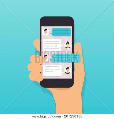 Hand holding mobile smart phone with text message. Flat design modern vector illustration concept.