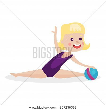 Cute blonde little girl performing gymnastic exercise, young gymnasts doing rhythmic gymnastics with ball colorful vector Illustration on a white background