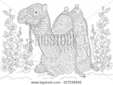 Coloring page of camel sitting among mallow flowers in desert oasis. Freehand sketch drawing for adult antistress coloring book in zentangle style.