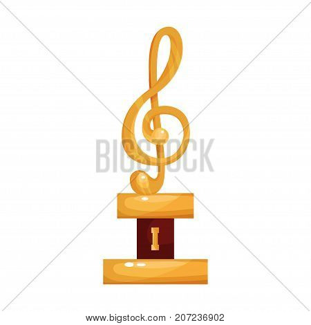 Gold treble clef, music award statuette cartoon vector Illustration on a white background