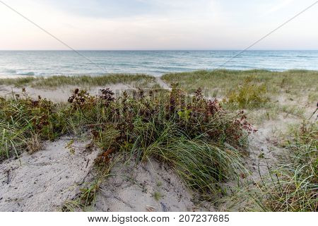 Sand Dune Background. Sand dune with dune grass with a wide panoramic view of the Great Lakes horizon and the blue waters of Lake Huron.